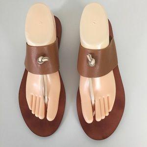 Lucky Brand Alliat Thong Sandal Sz 9.5 Tan Ivory